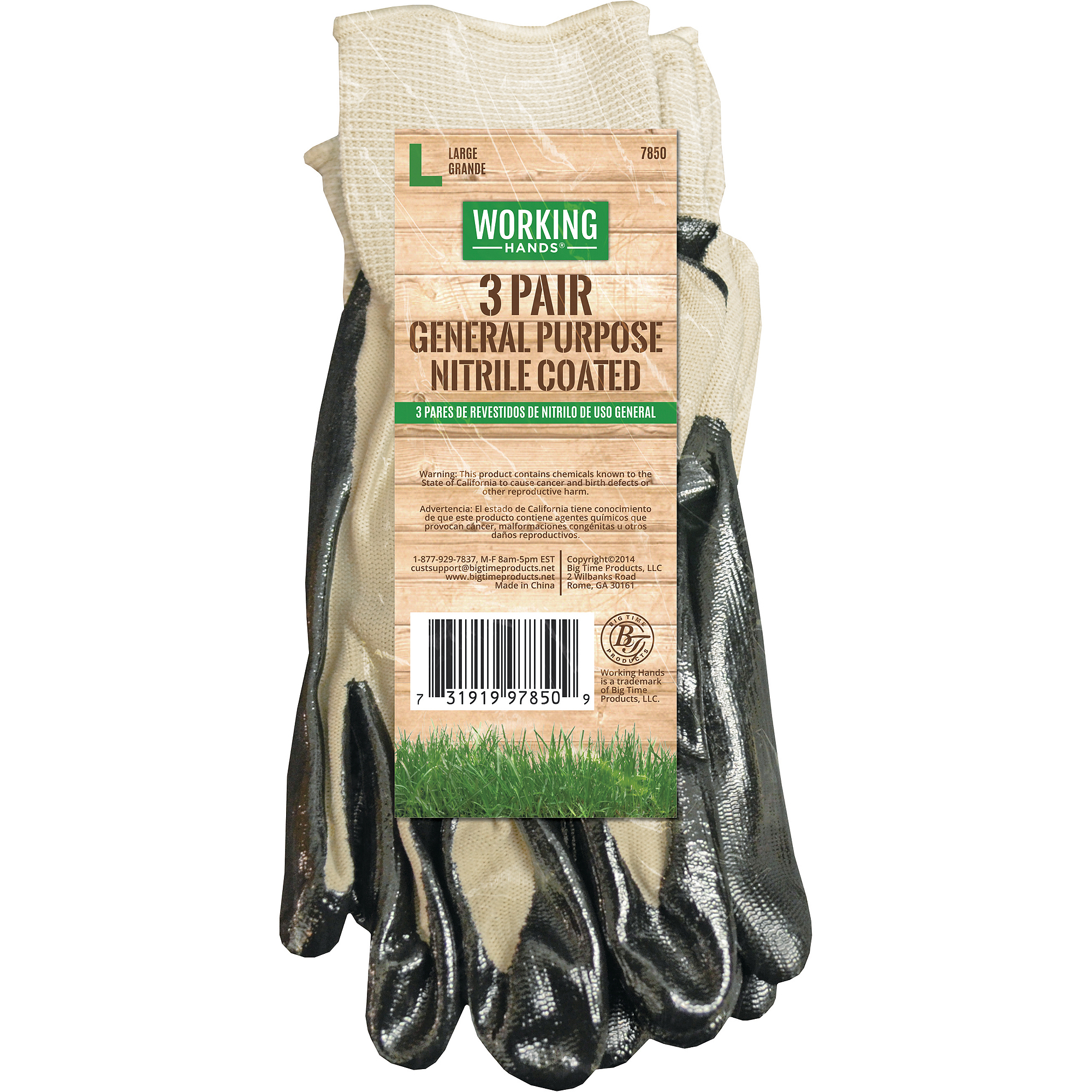 Working Hands Men's Nitrile-Dipped Gloves, 3pk