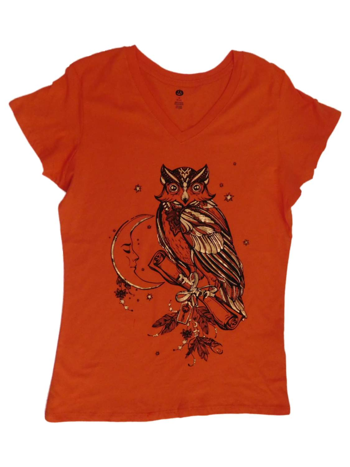 3D Printed T-Shirts an of Halloween Tree with Pumpkins and Owl in Front Full Moon Short Sleeve Tops Tees
