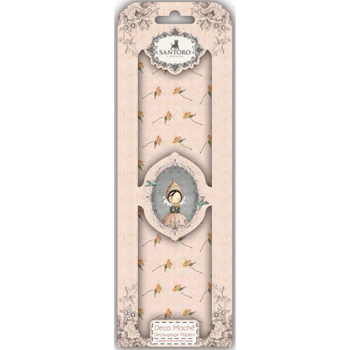 Santoro Mirabelle Deco Mache Sheets 26Cm X 37.5Cm 3/Pkg-Pursuit Of Happiness 6 - Pink Flowers