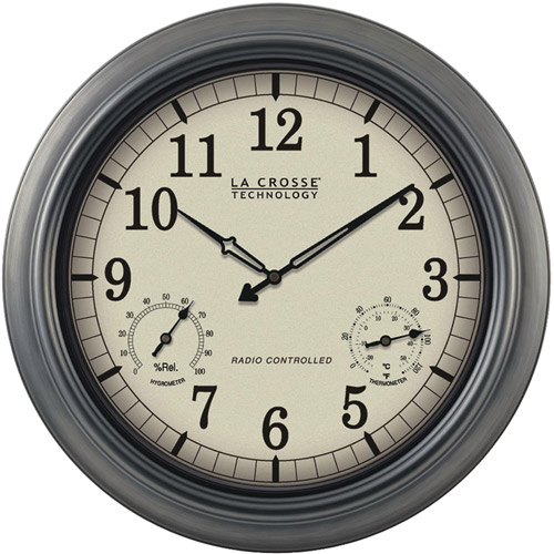 """La Crosse Technology Indoor/Outdoor 18"""" Atomic Wall Clock with Thermometer/Hygrometer"""