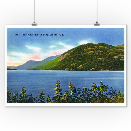 Lake George  New York   Lake View Of Deers Leap Mountain  9X12 Art Print  Wall Decor Travel Poster