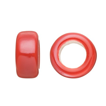 Ring Style Licorice Ceramic Bead Fits 10x8mm Licorice Leather Cherry Red Glazed Finished