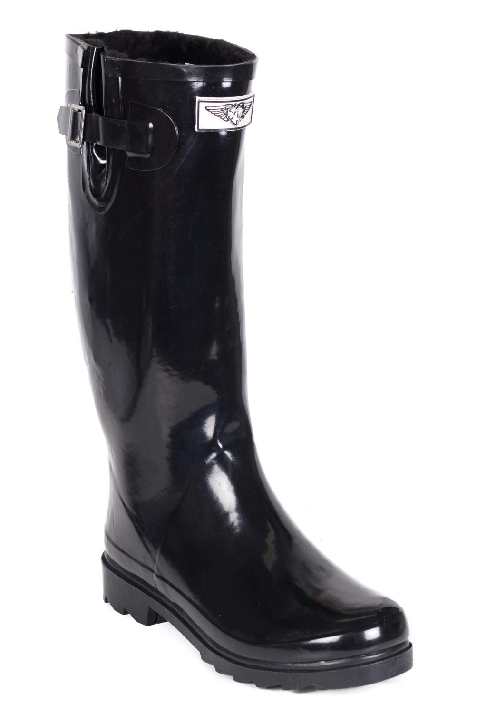 Women Rubber Rain Boots, Black /w Faux Fur Lining