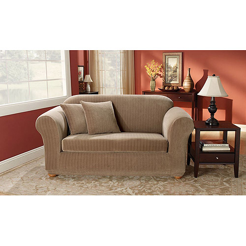 Sure Fit Stretch Pinstripe 2 Piece Sofa Slipcover