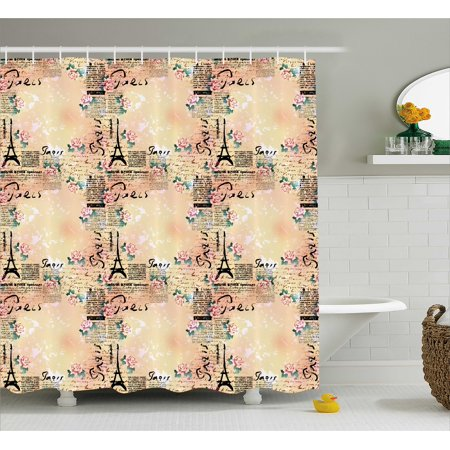 Modern Decor Shower Curtain, French Paris Themed Lettering with Floral Leaves Details Art, Fabric Bathroom Set with Hooks, 69W X 70L Inches, Blue Black and Light Pink , by Ambesonne](Paris Themed Decor Accessories)