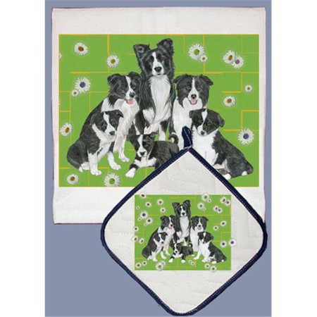Pipsqueak Productions DP560 Dish Towel and Pot Holder Set - Border Collie Family