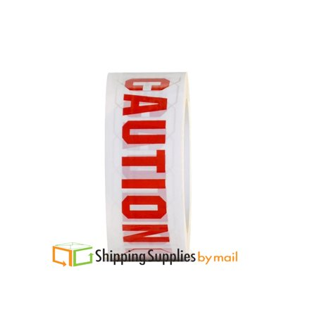 (White & Red) Caution Printed Shipping Mailing Packing Tape, 2.0 Mil 2