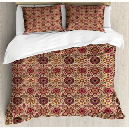 Moroccan Duvet Cover Set, Artistic Patchwork Style Pattern with Old Fashioned Flowers Bohemian Illustration, Decorative Bedding Set with Pillow Shams, Multicolor, by Ambesonne ()