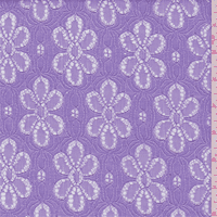 Lilac Purple Daisy Lace, Fabric By the Yard