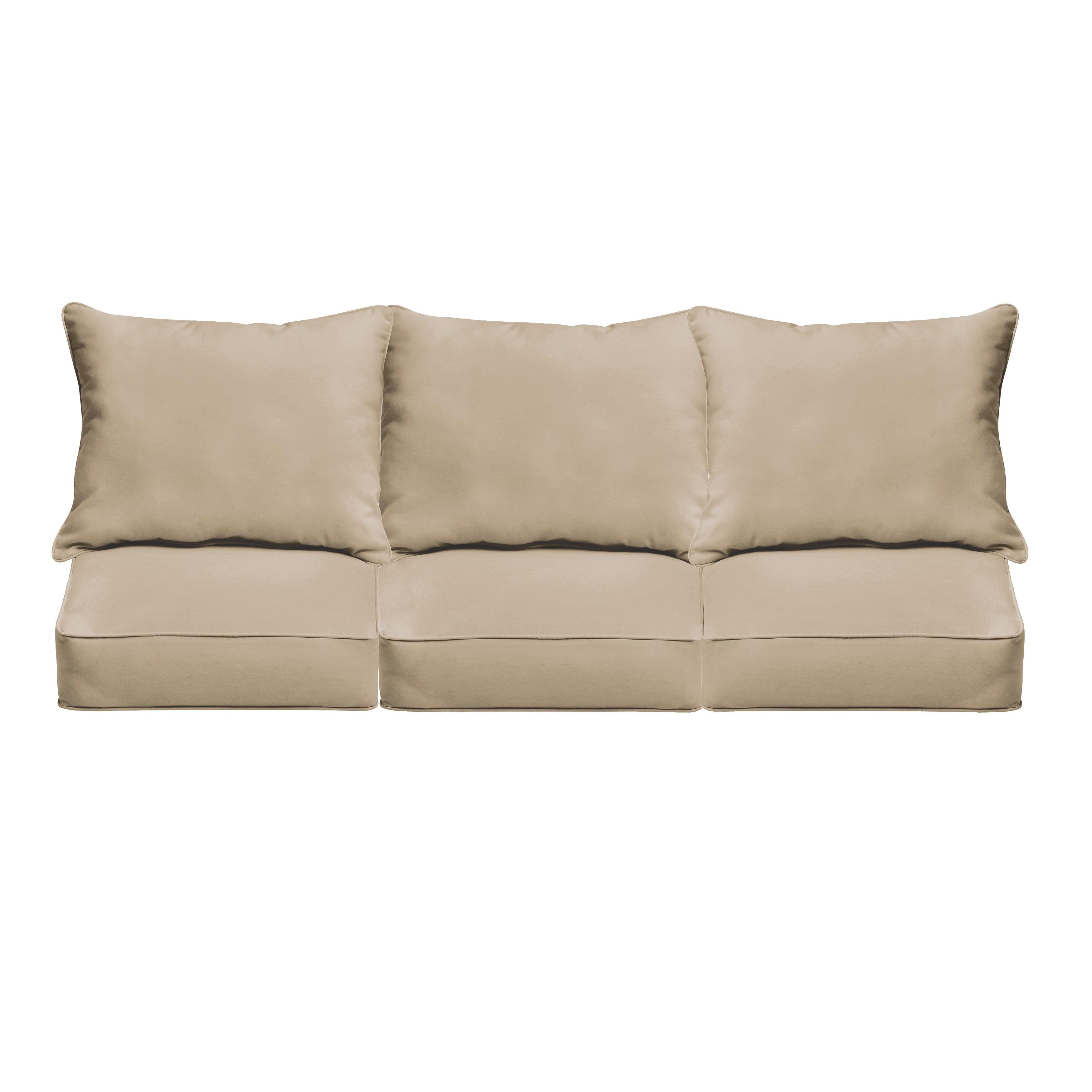Humble And Haute Clara Indoor Outdoor Wicker Sofa Cushion Set Made With Sunbrella Fabric