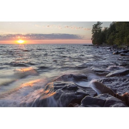 Waves at Sunset, Devils Island, Apostle Islands National Lakeshore, Wisconsin, USA Print Wall Art By Chuck Haney ()