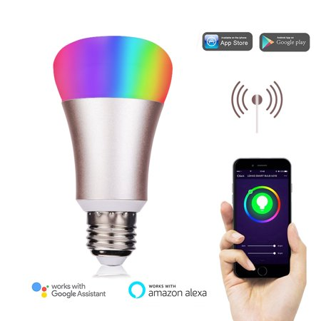Weanas Wifi Smart Led Light Bulb Works With Alexa Smartphone Controlled Multicolored Color Changing