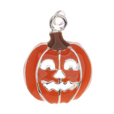Silver Plated With Orange Enamel Halloween Jack-O-Lantern Pumpkin Charm (1) - Halloween Charms Wholesale