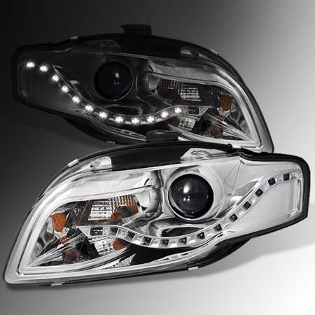 Fit 2006-2008 Audi A4 DRL LED Projector Halogen Type Both Headlights