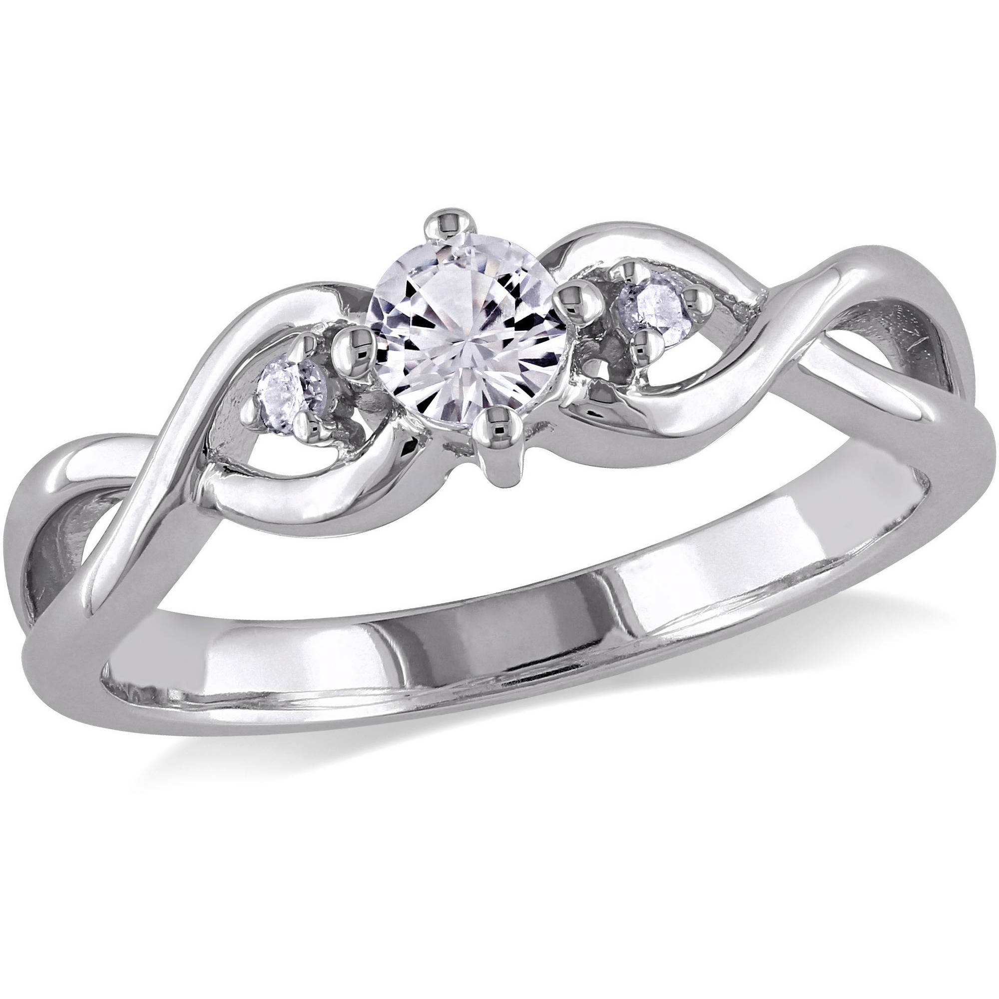 Miabella 1/3 Carat T.G.W. Created White Sapphire and Diamond Accent Sterling Silver Cross-Over Promise Ring