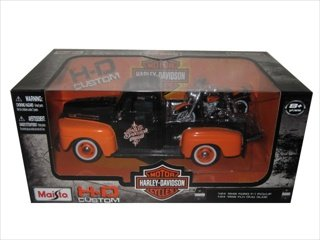 1948 Ford F-1 Pickup Truck Orange Black with 1958 FLH Duo Glide Harley Davidson Motorcycle... by