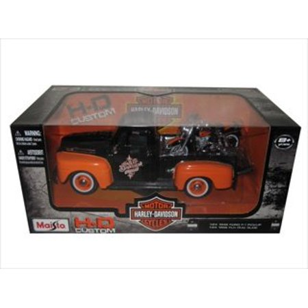 1948 Ford F-1 Pickup Truck Orange/Black with 1958 FLH Duo Glide Harley Davidson Motorcycle 1/24 by Maisto 32180, 1/24 Scale Model By