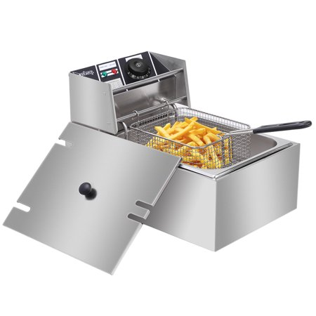 6L Deep Fryer With Basket, 2500-Watt Stainless-Steel Oil Deep Fryer Machine with Adjustable Temperature , Fully Removable, Professional