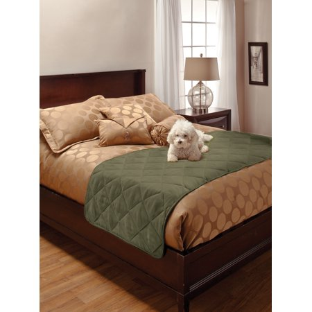 Pet Pals for Your Home 1-Piece Faux Suede Full/Queen Bed Protector, Sage Suede Bone Bed Cover