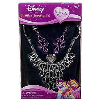 Disney Princess Jewelry Set- Girl's Costume Fashion Necklace, Rings and - Costume Jewelry