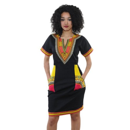 SunshineLLC Women's Dashiki Tribal Style Boho Pattern V-Neck Short Sleeve Mini Dress with Pockets