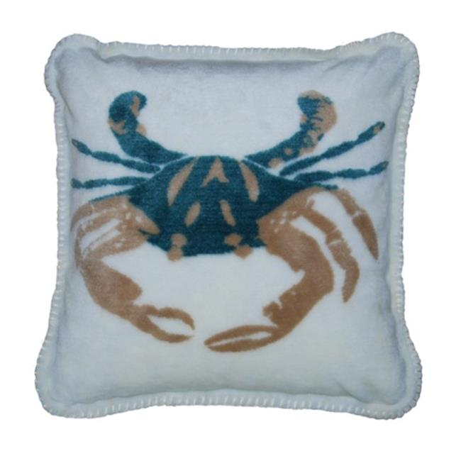 Denali Home Collection 35017818 Cream Sand Crab With Light Marine Square Microplush Pillow