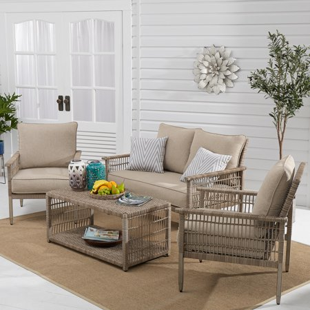 Better Homes & Gardens Meadow Lake 4-Piece Patio Wicker Conversation Set with Beige Cushions