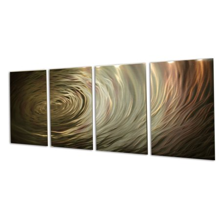 Ripple Brown Gold  Metal Wall Art Abstract Sculpture Modern Decor By Miles Shay