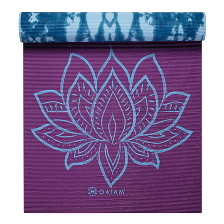 Gaiam Premium Print Reversible Yoga Mat, Purple Lotus, (Gaiam Sol Dry Grip Yoga Mat Black 5mm)