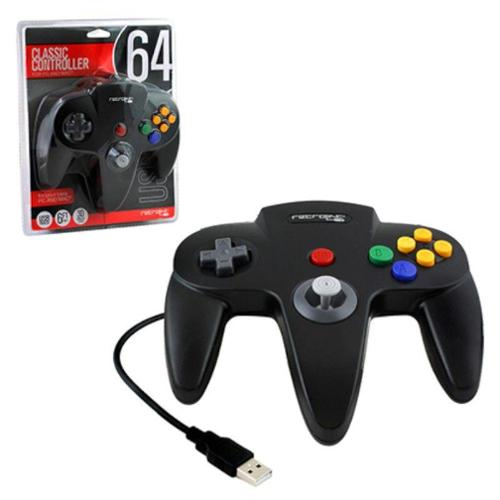 2-Pack Wired Nintendo 64 Style USB Controller For PC And Mac Black