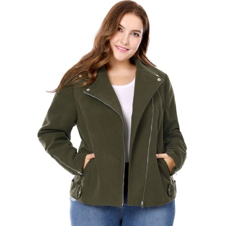 Storm Fit Convertible Jacket - Women's Plus Size Convertible Collar Inclined Zip Closure Moto Jacket Green 3X