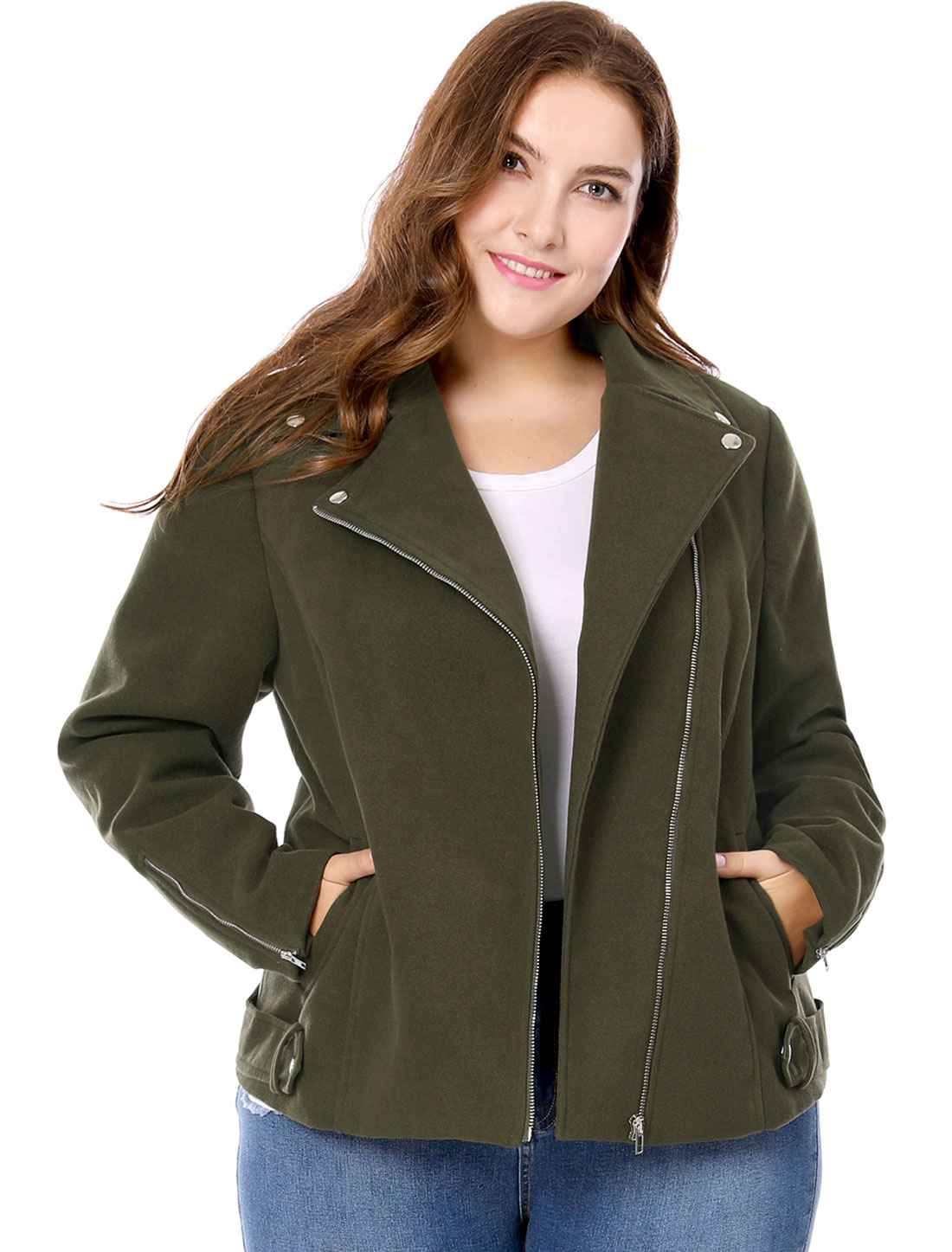 Unique Bargains Women's Plus Size Inclined Zip Closure Moto Jacket Green (Size 3X)
