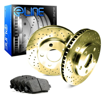 For 1998-1999 GMC Yukon Front eLine Gold Drilled Brake Rotors+Semi-Met Brake Pad