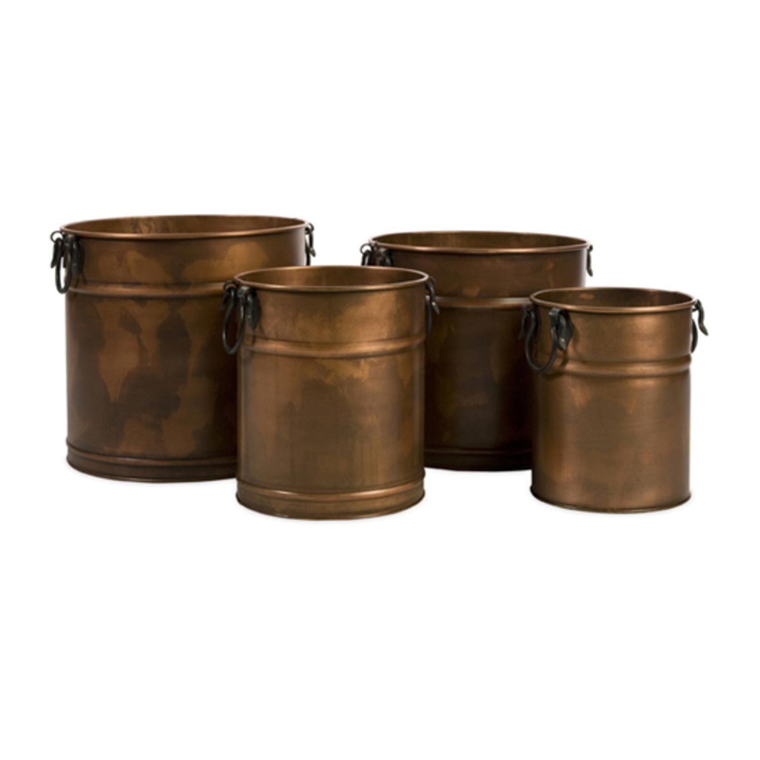 Set of 4 Antique Decorative Copper Planters with Iron Handles
