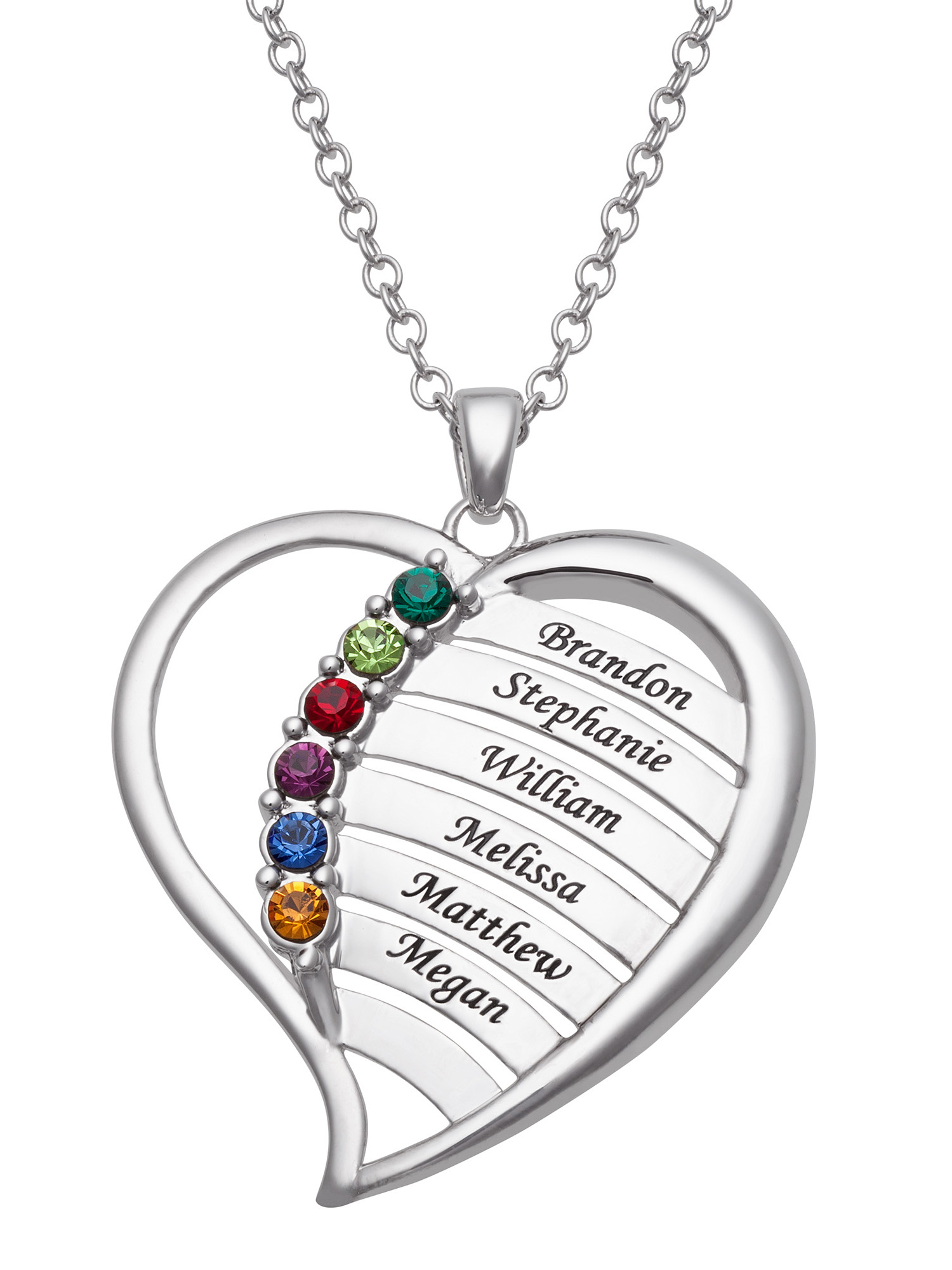 Family Jewelry Personalized Mother's Family Rhodium-Plated or Gold-Plated Birthstone and Names Heart Necklace, 18""