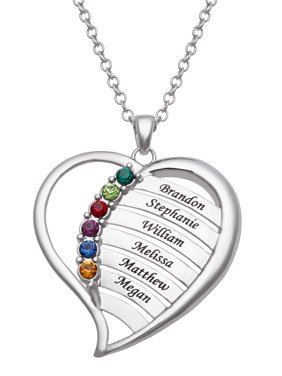 7f7e9c639 Product Image Family Jewelry Personalized Mother's Family Rhodium-Plated or  Gold-Plated Birthstone and Names Heart