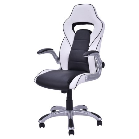 Costway High Back Executive Racing Style Office Chair Gaming Chair Adjustable Armrest (Style Armrest)