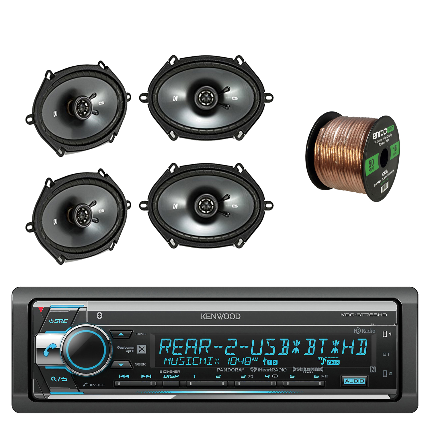 "Kenwood 1Din CD AM FM Car Audio Receiver with Bluetooth with Kicker CS Series 6.8"" 2-Way Black Car... by EnrockAutomotive"