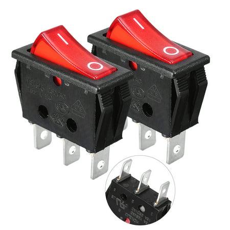 250V/16 20A/125V  SPST O/F Neon Light Rocker Switch 2 Pcs (Neon Streamers Black Light)