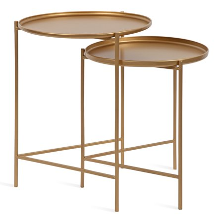 Kate and Laurel Ulani Set of 2 Modern Glam Nested Round Metal End Tables, Gold ()