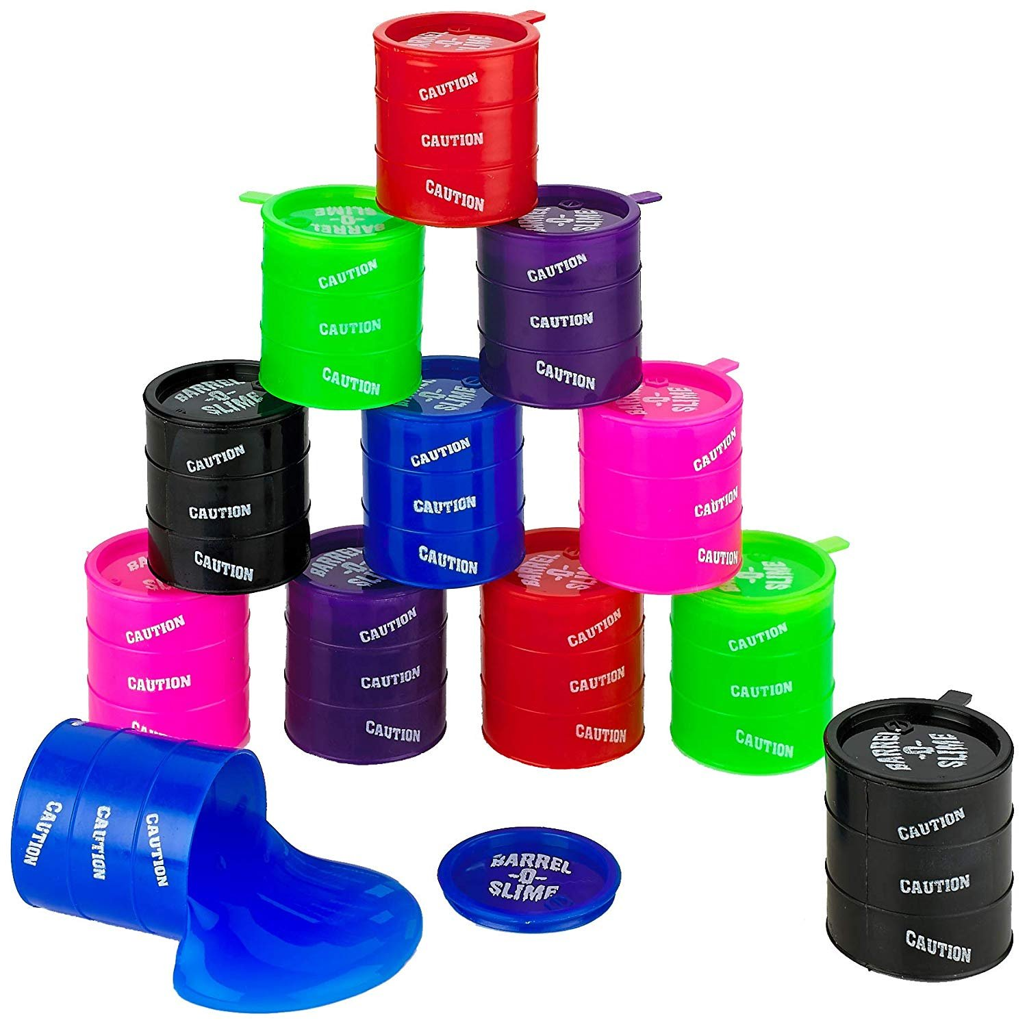Barrel Of Slime - Container 3 Inches - 12 Pack - Assorted Colors - For Kids Boys And Girls, Party Favor, Fun, Toy, Novelty, Gift, Prize – By Kidsco