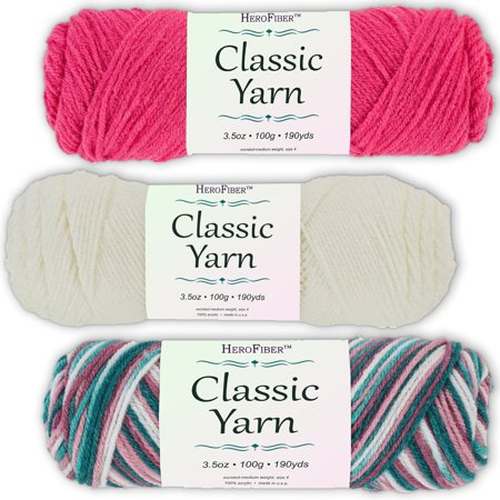 Soft Acrylic Yarn 3-Pack, 3.5oz / ball, Red Grenadine + White Coconut + Blend Rose. Great value for knitting, crochet, needlework, arts & crafts projects, gift set for beginners and