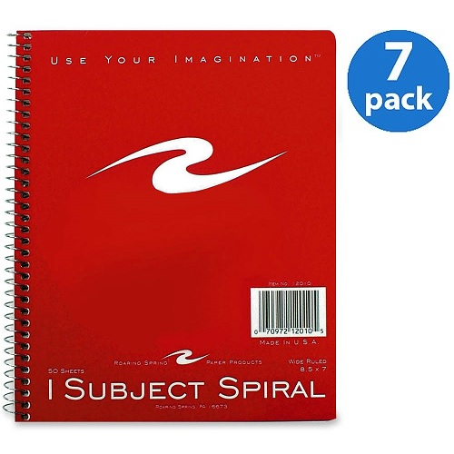 (7 Pack) Roaring Spring 1-Subject Spiralbound Notebook, 50 / Each (Quantity)