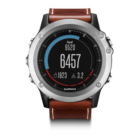 Refurbished Fenix3 Sapphire Silver w/ Leather Band Multisport GPS Watch - Leather Band Silver Watch