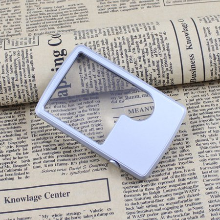 Pocket Ultra-thin Card Reading Magnifier 3X/6X Loupe with LED Light Magnifying