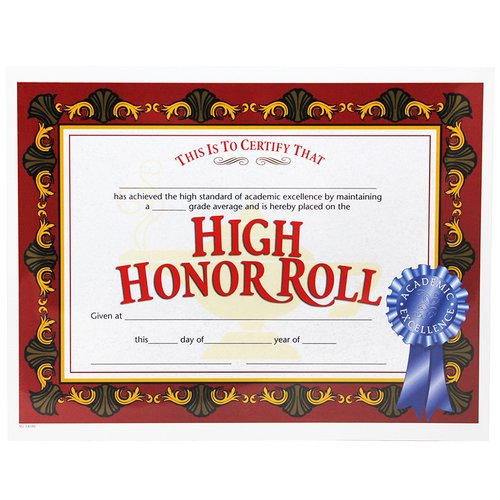 Hayes School Publishing High Honor Roll Certificates (Set of 30)