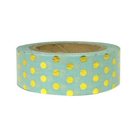 Wrapables® Colorful Washi Masking Tape, Metallic Gold Dots on Mint - Colorful Tape