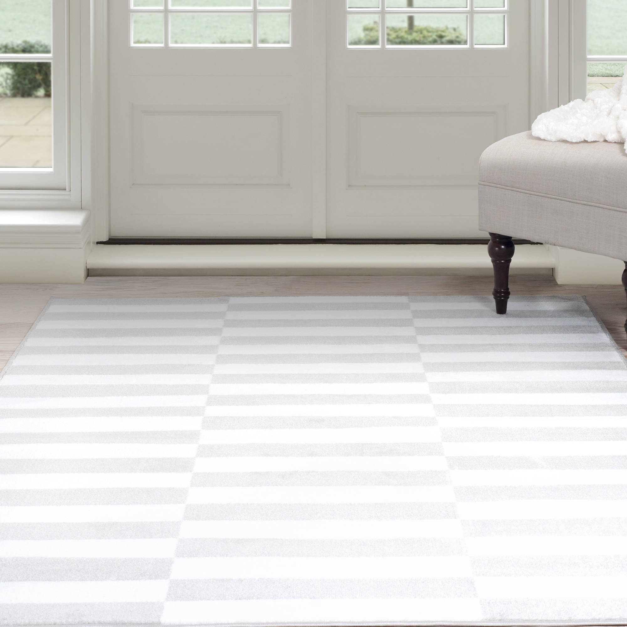 Somerset Home Alternate Stripes Area Rug Grey And White