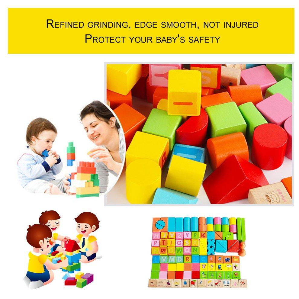 100pcs Set Wooden Children Building Blocks Toys Early Educational Kids Intelligent... by