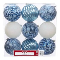 Holiday Time Shatterproof Ornaments, 9-Count, Blue White